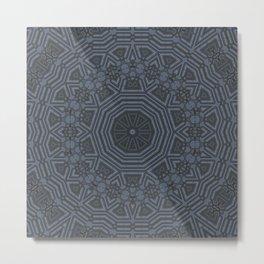 Midnight Blue Mandala Pattern Metal Print