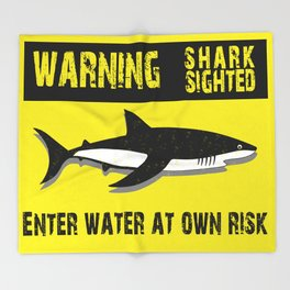 Warning Shark Sighted Throw Blanket