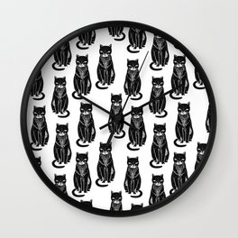 Linocut cat black and white cute pet pattern cats kittens Wall Clock