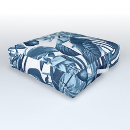 Tropical Flora blue and white Outdoor Floor Cushion