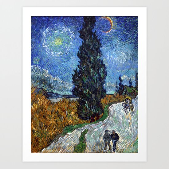 Vincent van Gogh - Road with Cypress and Star by constantchaos