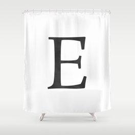 Letter E Initial Monogram Black and White Shower Curtain