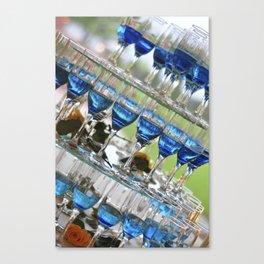 blue champagne glasses pyramid wedding table arrangement Canvas Print