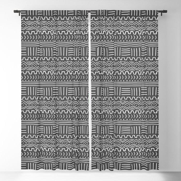 Mud Cloth on Gray Blackout Curtain