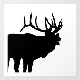 Elk Bugling Silhouette Art Print