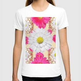 White Shasta Daisy Fuchsia  Pink Purple Patterns T-shirt