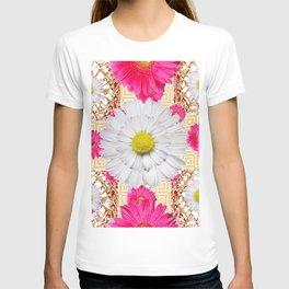 White Shasta Daisy Fuchsia  Pink Purple Patterns T-shirt