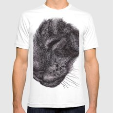 Cat illustration Mens Fitted Tee White MEDIUM