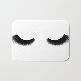black and white eyelashes Bath Mat
