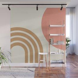 Mid century modern pink Sun & Rainbow Wall Mural