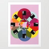 nail polish Art Prints featuring Designer Nail Polish Print by BeckiBoos
