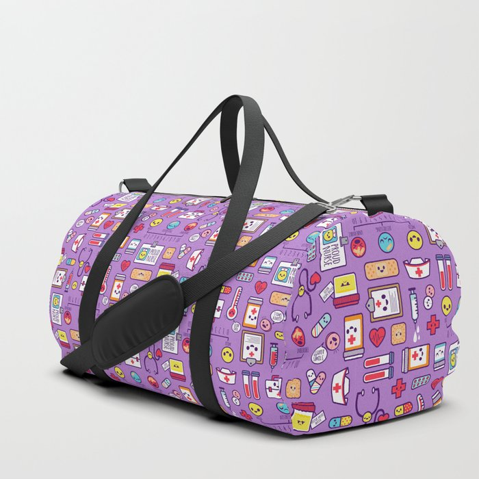 Proud To Be a Nurse Pattern / Purple Duffle Bag