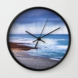 Rain at Sea Wall Clock