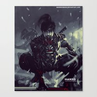 exo Canvas Prints featuring Darkfall Hanzo Exo Suit by Benedick Bana