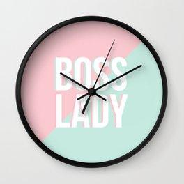 Boss Lady - Pastel Pink and Aqua #bosslady #society6 #typography Wall Clock