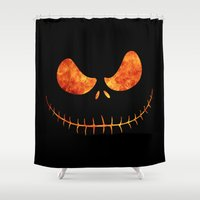 jack skellington Shower Curtains featuring Jack Skellington Halloween Smile Flame by alexa