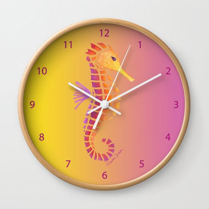 Sunset Seahorse Wall Clock by artsytoocreations | Society6