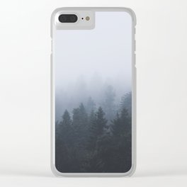 Mysterious forest in the fog Clear iPhone Case