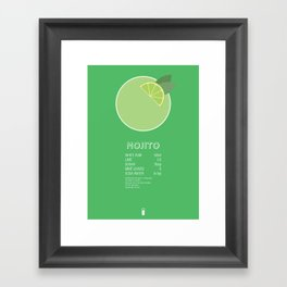 Mojito Cocktail Recipe Poster (Metric) Framed Art Print