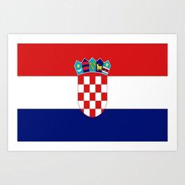 Flag of croatia -croatian, Hrvatska,croat,croacia,Zagreb,split,rijeka,osijek. Art Print