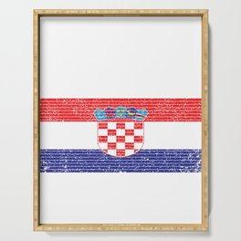 Croatia Country Vintage Croatian National Flag Gift Serving Tray