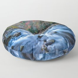 Fall in the Smokies - Autumn Colors at Laurel Creek in Smoky Mountains Floor Pillow