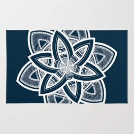 Authentic white mandala on blue Rug