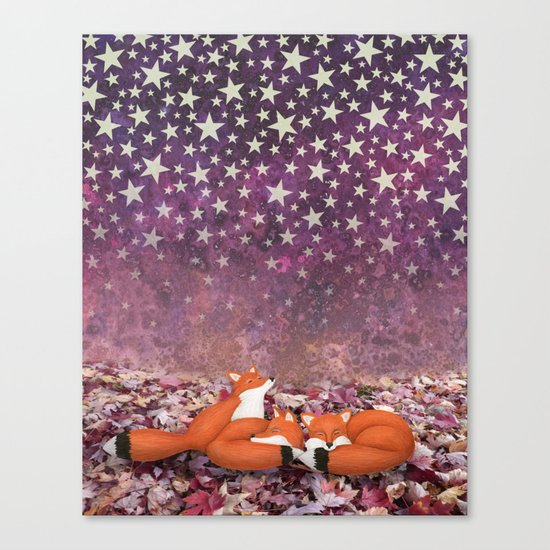 foxes under the stars Canvas Print