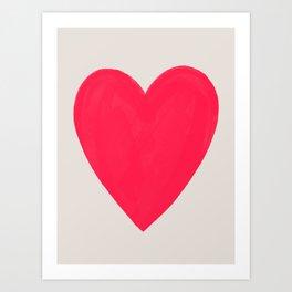 Big Neon Heart - Hot Pink Art Print