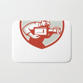 Cameraman Film Crew Camera Shield Retro Bath Mat