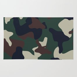 Green Brown woodland camo camouflage pattern Rug