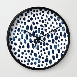 Blue Watercolour Spots Wall Clock