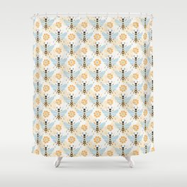 Honey Bee Abstract Pattern Shower Curtain