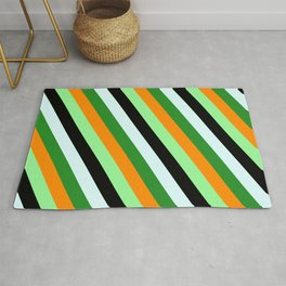 Colorful Dark Orange, Green, Black, Light Cyan, and Forest Green Colored Lined Pattern Rug