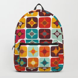 retro orange brown tiles Backpack