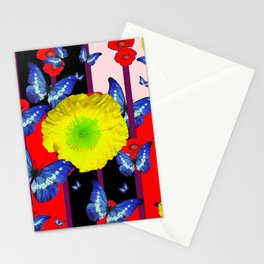 RED-BLACK  BLUE BUTTERFLY &  YELLOW FLOWER FLORAL Stationery Cards