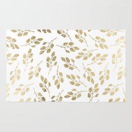 Elegant white faux gold modern leaves floral Rug