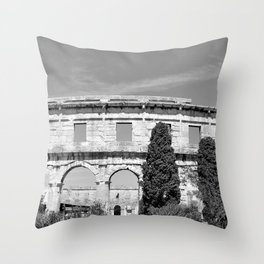 arena amphitheatre pula croatia ancient black white Throw Pillow