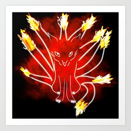 Flaming Nine Tailed Fox Art Print