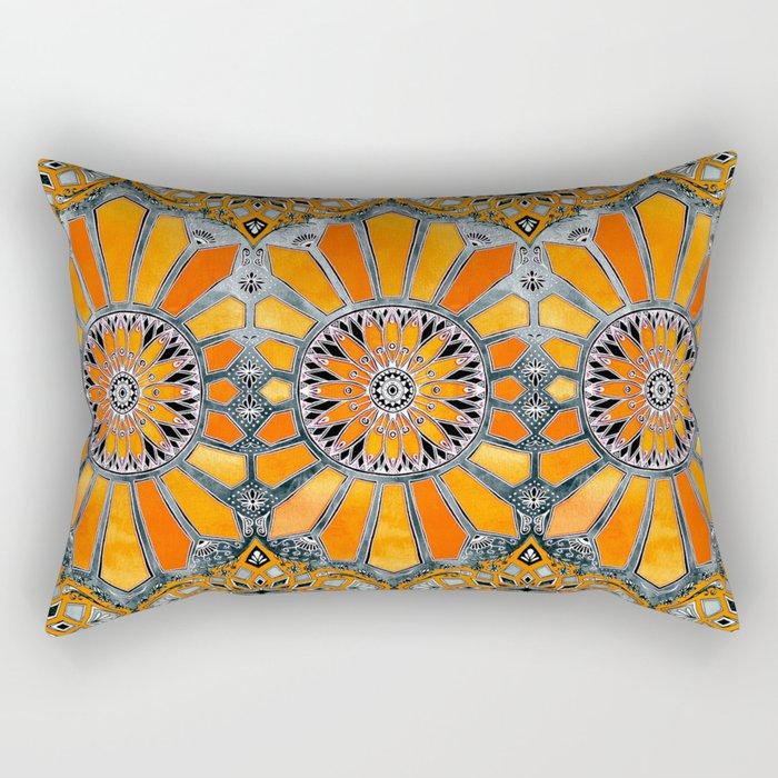 Celebrating the 70's - tangerine orange watercolor on grey Rectangular Pillow