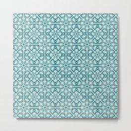 Vintage Mediterranean tiles pattern cobalt blue Metal Print