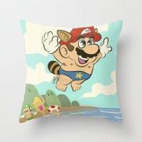 super mario Throw Pillows featuring Super Mario! by Ismael Álvarez