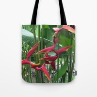 """indonesia Tote Bags featuring Flower """"Heliconia"""" (Bali, Indonesia) by Christian Haberäcker - acryl abstract"""