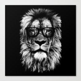 Hipster Lion Black Canvas Print