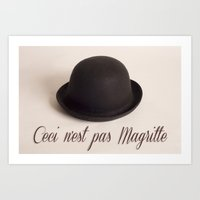 magritte Art Prints featuring Magritte - Ceci n'est pas Magritte by Maressa Andrioli