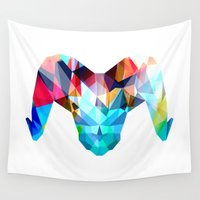 ram Wall Tapestries featuring Ram by haroulita