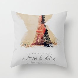 Amelie, minimalist movie poster, french film playbill, the fabulous life of Amélie Poulain, Throw Pillow