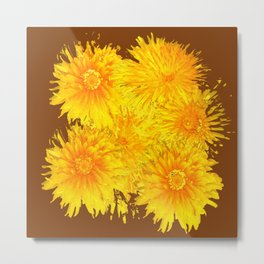 ABSTRACTED COFFEE BROWN   FIRST SPRING YELLOW DANDELIONS Metal Print