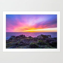 California Dreaming - Brilliant Sunset in Big Sur Art Print