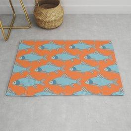 Blue and Orange Tropical Fish Shoal Pattern Rug